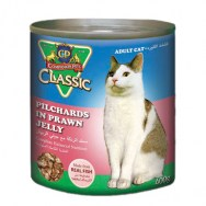 classic pilchards in prawn jelly can cat food